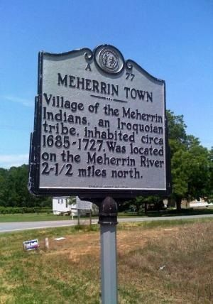 Meherrin Indian town sign